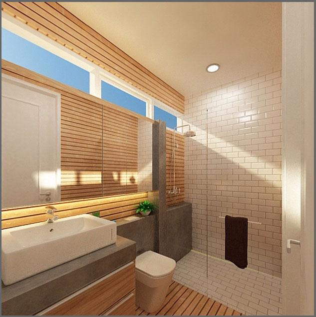 42 desain kamar mandi sempit minimalis ukuran kecil yang for Design interior minimalis modern