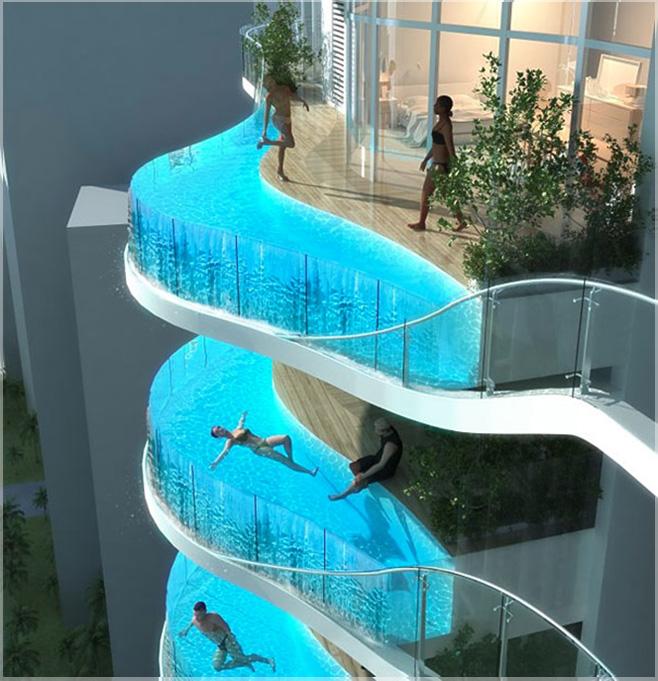 kolam renang di balkon