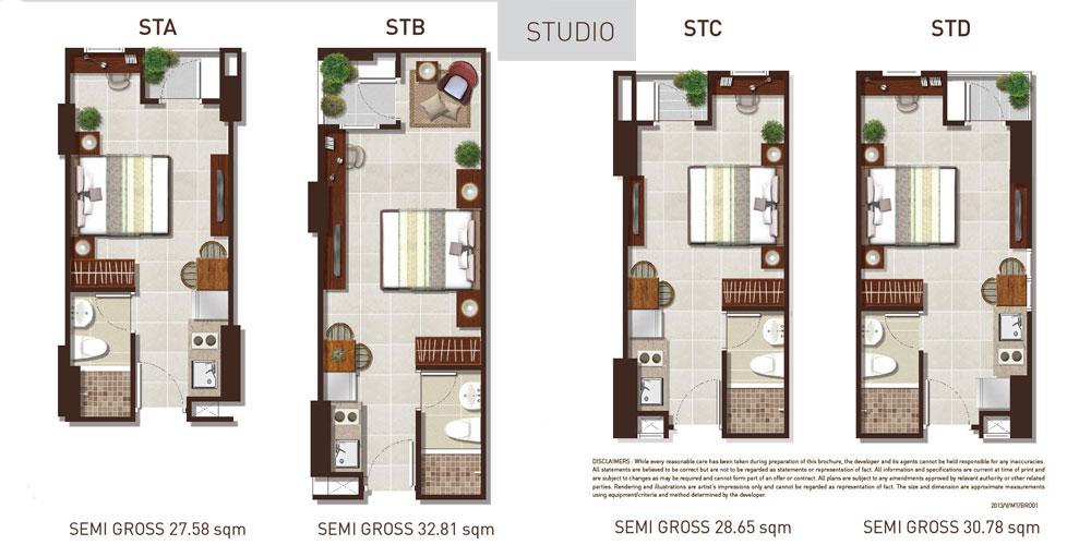 tipe apartemen metro park studio